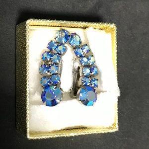 Vintage Stunning Blue Rhinestones Clip On Earrings